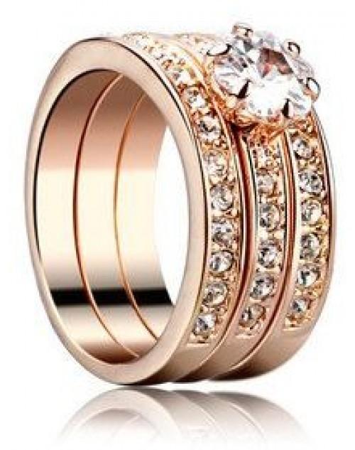 خاتم نسائي مطلي بالذهب ومزين بالكرستال النمســاوي الشفاف 18K Gold Plated ring