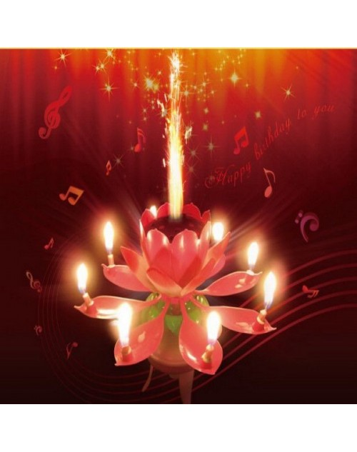 شمعة زهرة اللوتس الموسيقية لعيد ميلاد مميز