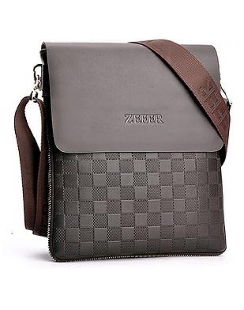 حقيبة زفر جلد أصلية كاجوال لون بني