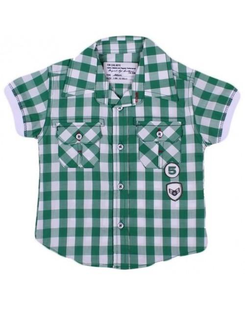 عزيز بيبي 019124 قميص نص كم للأولاد - أخضر ( من 6 إلى 9 شهور )