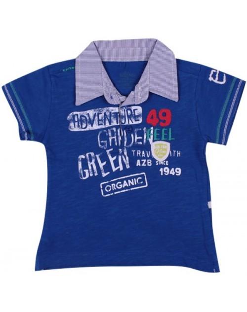 عزيز بيبي 016146 تيشيرت نص كم للأولاد - أزرق (من 9 إلى 12 شهر )