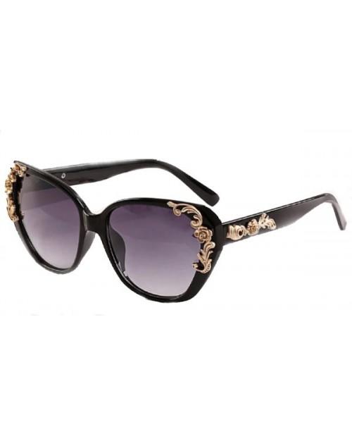 نظارة شمسية نسائية بإطار مزخرف بالورود الذهبية