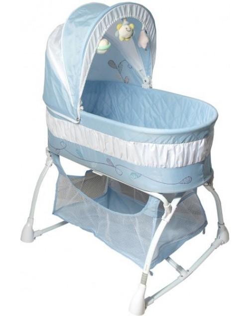 سرير أطفال - أزرق /أبيض