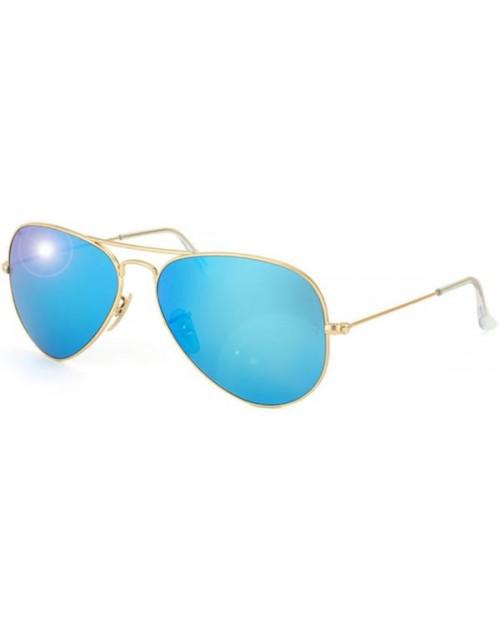 نظارة شمس للجنسين بعدسات مرايا ملونة لون أزرق سماوى مقاس 58