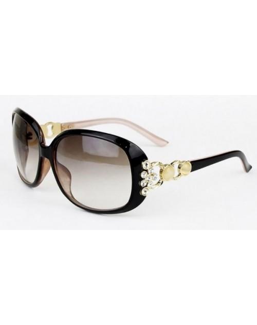 نظارة شمسية نسائية بذراع ذهبي مرصع بقط الكريستال
