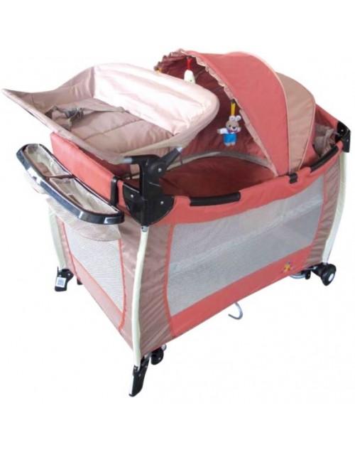 سرير أطفال للعب والنوم مناسب للسفر من بيبي لوف - وردي , KGS-220