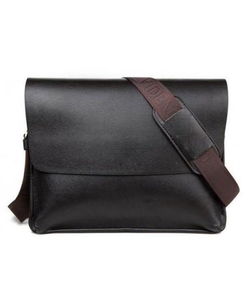 حقيبة جانبية رجالية جلد طبيعي - بني غامق