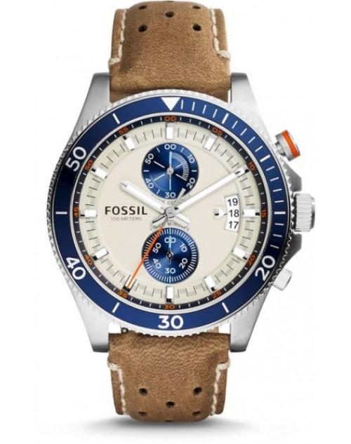 10514dc65 ساعة فوسيل ويكفيلد بيضاء للرجال بسوار من الجلد كرونوغراف - CH2951